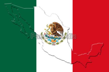mexikanische nationalflagge mit adler wappen und