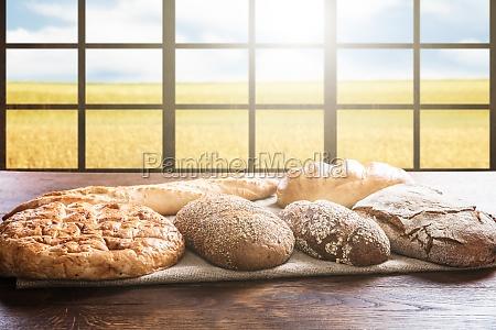 variety of bread near window