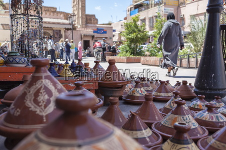 a street sellers wares including tagines