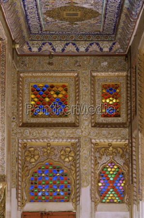 painted ceiling and wall detail with