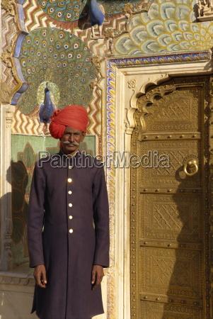 guard in turban at city palace