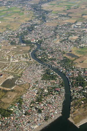 aerial view of dormitory township on