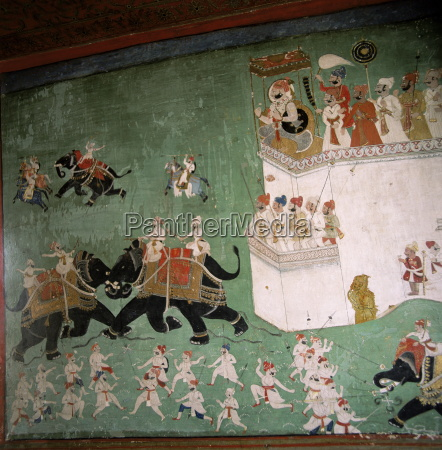 wall paintings in royal palace bundi