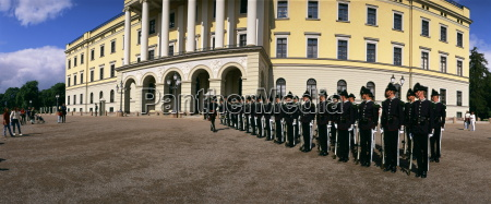 line of guards in front of