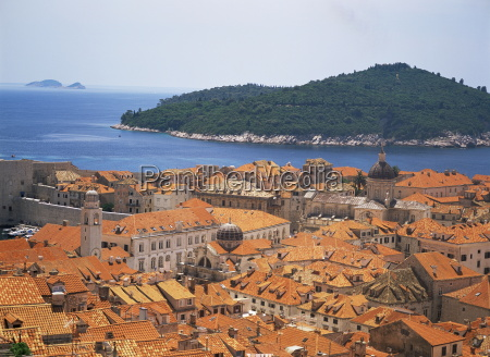 aerial view of terracotta roofs dubrovnik