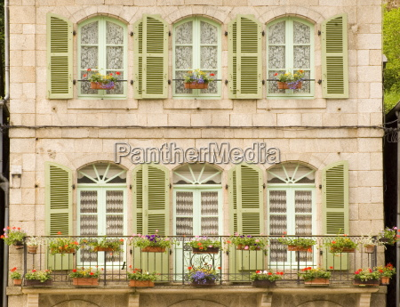 colourful green wooden shutters and flower