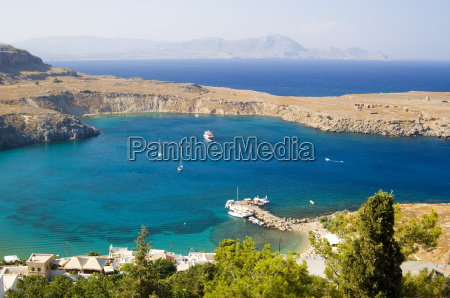 an aerial view of lindos bay
