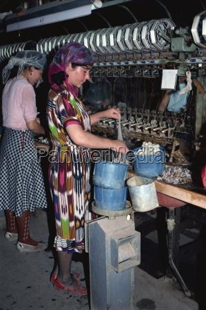 uneeling silk cocoons hotan xinjiang china