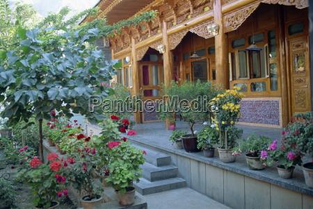 pot plants garden and wooden sala