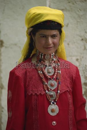 tajik woman in traditional dress tashkurgan