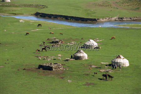 kazak yurts in the summer in