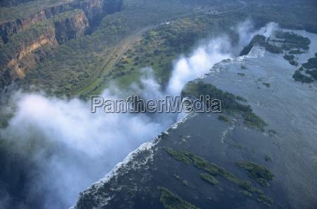 aerial view of victoria falls zimbabwe