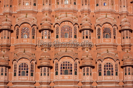 the ornate pink facade of the