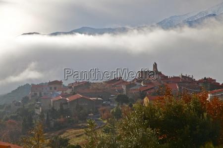morning mist in arboussols a village