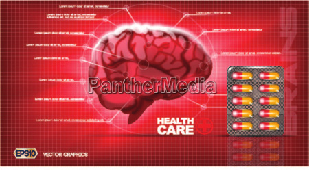 digital vector red medicine brain structure