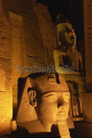 floodlit statues of ramses ii temple