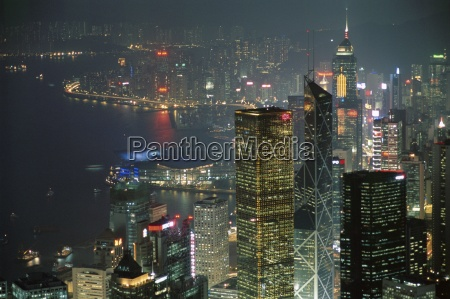 skyline and victoria harbour at night