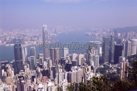 hong kong island skyline and victoria