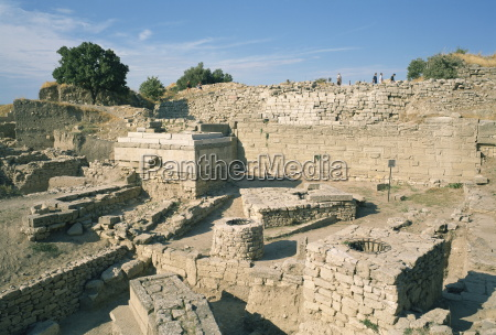 ancient ruins at archaeological site troy