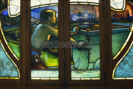 detail of art nouveau stained glass