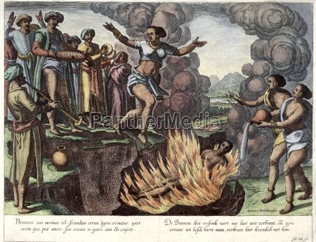 illustration von suttee selbstmord einer indischen