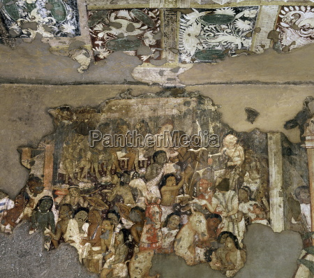 detail of mural inside cave no17