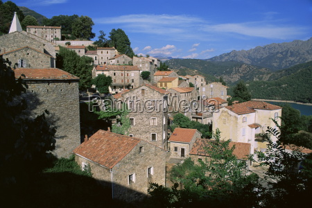 tolla village and dam corsica france