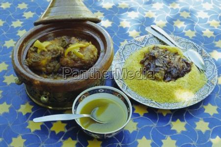 traditional food including chicken tajine and