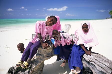 young muslim children in school uniform