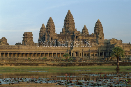 angkor wat temple in the evening