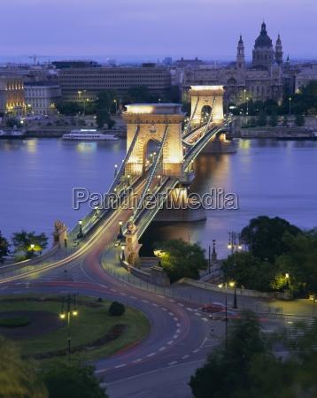 chain bridge over the river danube