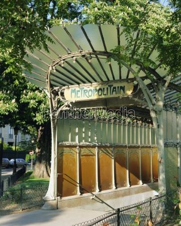 metropolitain metro station entrance paris france