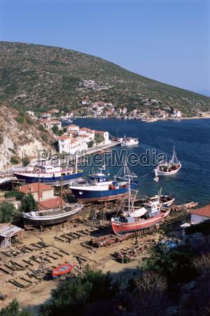 fishing boats in harbour agia kyriaki