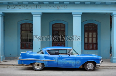 old blue american car with body