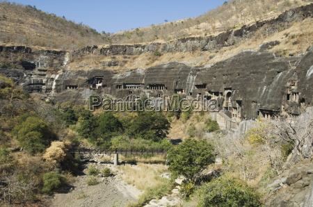 ajanta cave complex buddhist temples carved