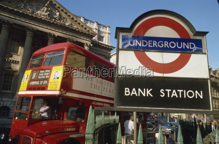 double decker bus and bank station
