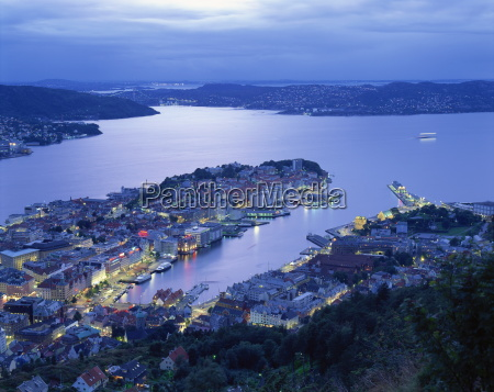 aerial view the harbour and city