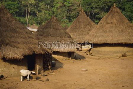 dorfszene elfenbeinkueste westafrika afrika