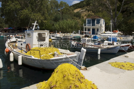 fishing boats poli bay ithaka ionian