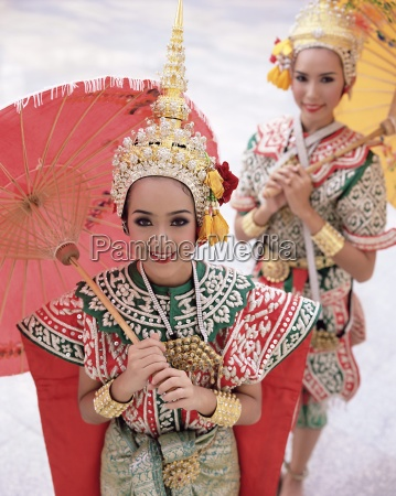 portrait of two dancers in traditional
