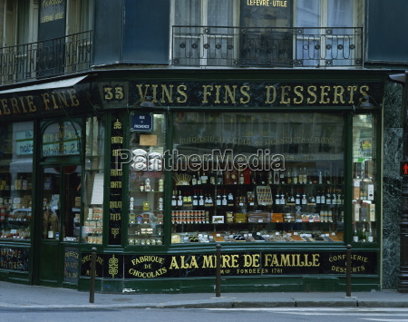 wine shop facade paris france europe