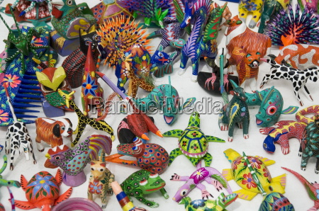 painted carved wooden animals oaxaca city