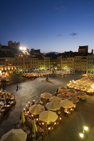 elevated view over the square and
