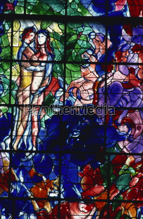 stained glass window by marc chagall