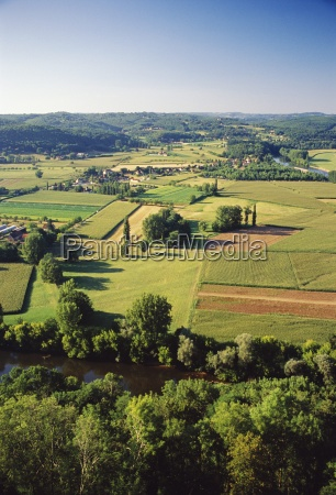 aerial view of countryside and river