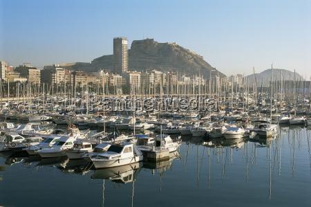 marina and view to castillo alicante