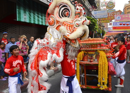 lion dance chinatown bangkok thailand southeast