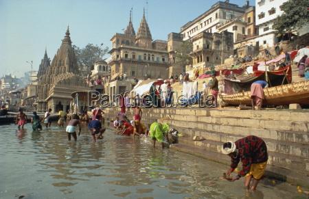 morning religious festival river ganges varanasi