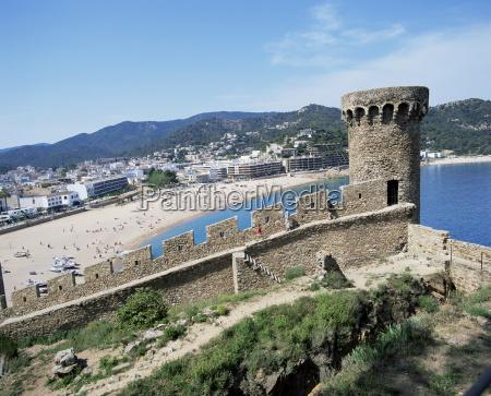 mont guardi battlements and beach beyond