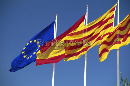 flags of europe spain and catalonia